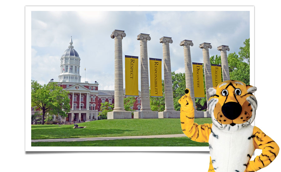 Truman the Tiger standing in front of a photo of the Columns and Jesse Hall