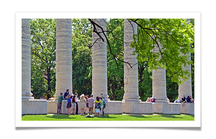 Students at the Mizzou Columns